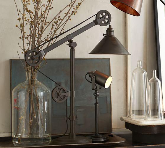 warren pulley task table lamp pottery barn. Black Bedroom Furniture Sets. Home Design Ideas