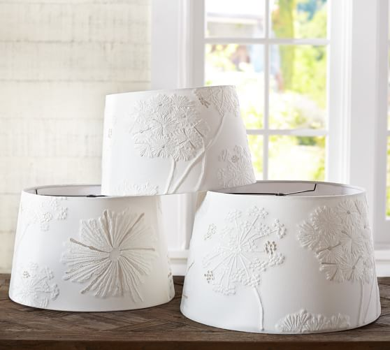 Pottery Barn Replacement Lamp Shades: Tonal Starburst Embroidered Tapered Drum Lamp Shade