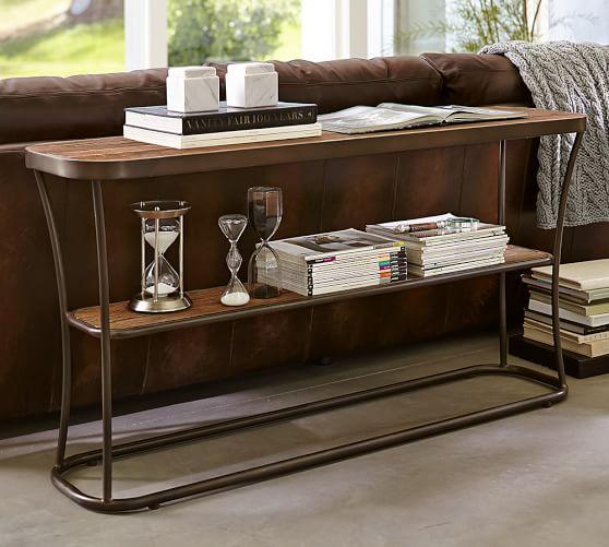 Bartlett reclaimed wood console table pottery barn for Metal and wood console tables
