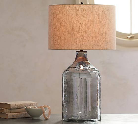 Pottery Barn Jolie Lamp: Alana Luster Glass Jug Table Lamp Base - Indigo