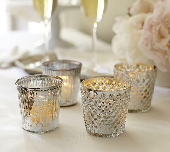 Mercury Glass Votive Cups Set Of 4 Pottery Barn