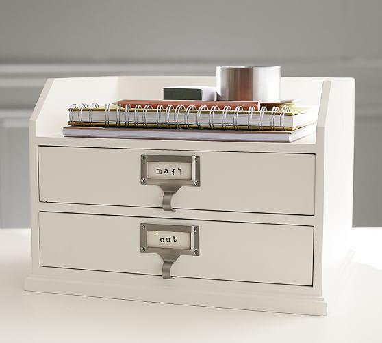 Bedford two drawer paper organizer pottery barn - Desk drawer paper organizer ...