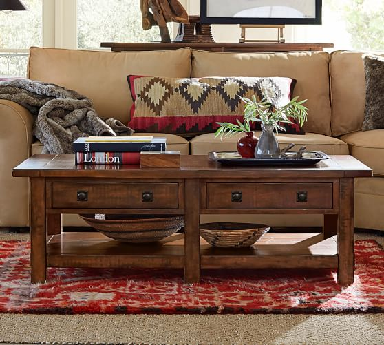 Pottery Barn Wood Table: Benchwright Rectangular Coffee Table