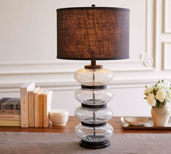 Crackled Glass Stacked Table Lamp Base Pottery Barn