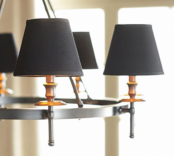black linen chandelier shade set of 2 pottery barn. Black Bedroom Furniture Sets. Home Design Ideas