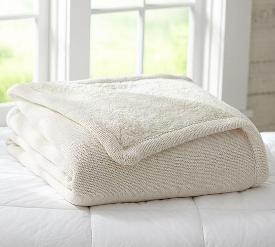 Chenille Knit Sherpa Blanket Pottery Barn