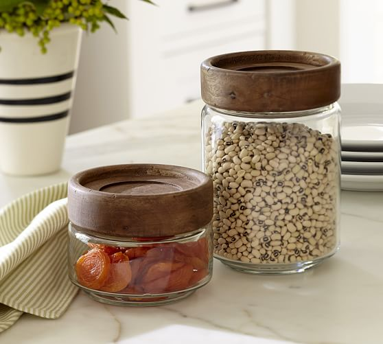paddle wood glass food canisters pottery barn