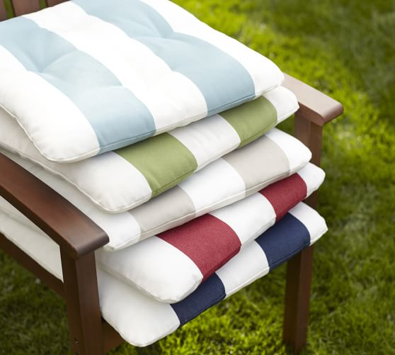 tufted outdoor dining chair cushion stripe pottery barn. Black Bedroom Furniture Sets. Home Design Ideas