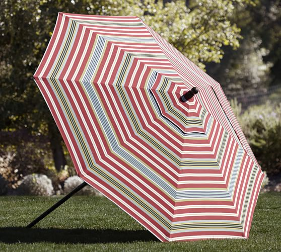 Round Market Umbrella - Harbor Stripe Sunbrella®