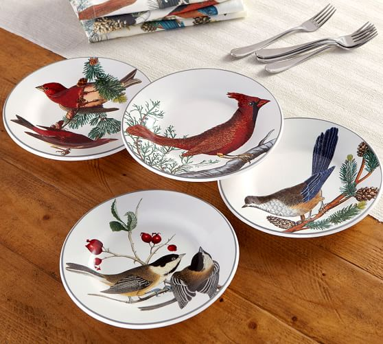 Winter Fauna Salad Plates Mixed Set Of 4 Pottery Barn