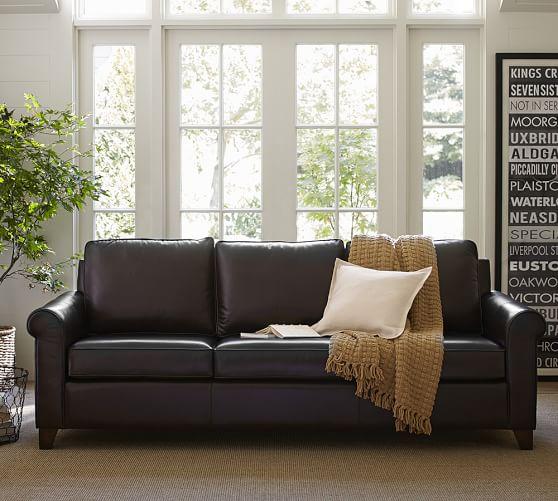 cameron roll arm leather sofa pottery barn. Black Bedroom Furniture Sets. Home Design Ideas