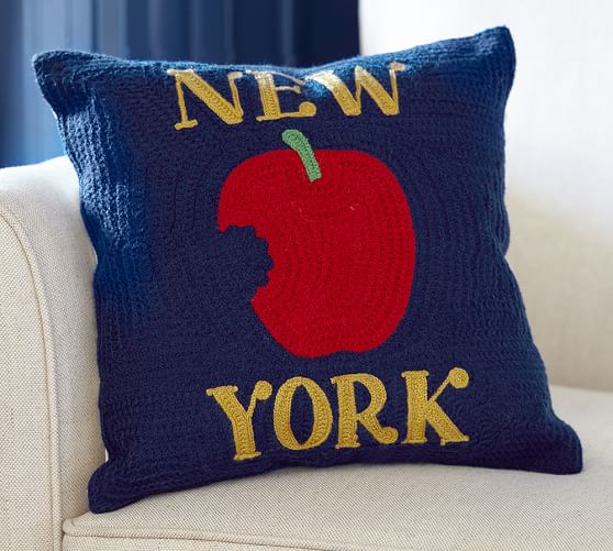New York City Crewel Embroidered Pillow Pottery Barn