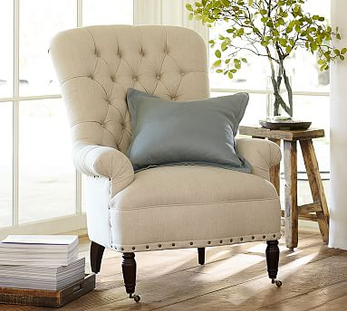 radcliffe tufted upholstered armchair pottery barn. Black Bedroom Furniture Sets. Home Design Ideas