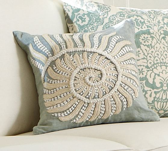 Embroidered Throw Pillows Pottery Barn : Blue Nautilus Embroidered Pillow Cover Pottery Barn