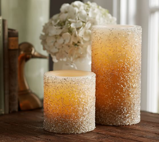 Flameless Gold Beaded Wax Pillar Candle | Pottery Barn