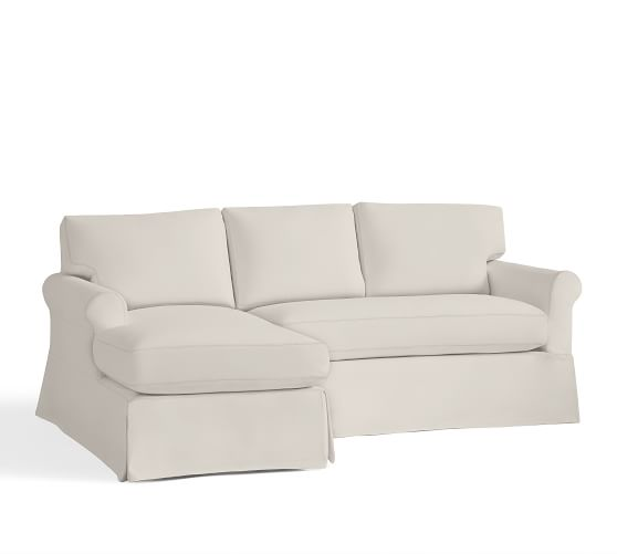 York roll arm slipcovered sofa with chaise sectional pottery barn - Sofa york ...