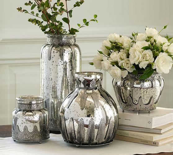 Madeline mercury glass metal vases pottery barn