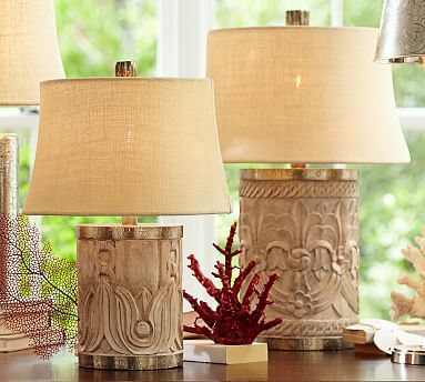 rowan carved wood table lamp bases pottery barn. Black Bedroom Furniture Sets. Home Design Ideas