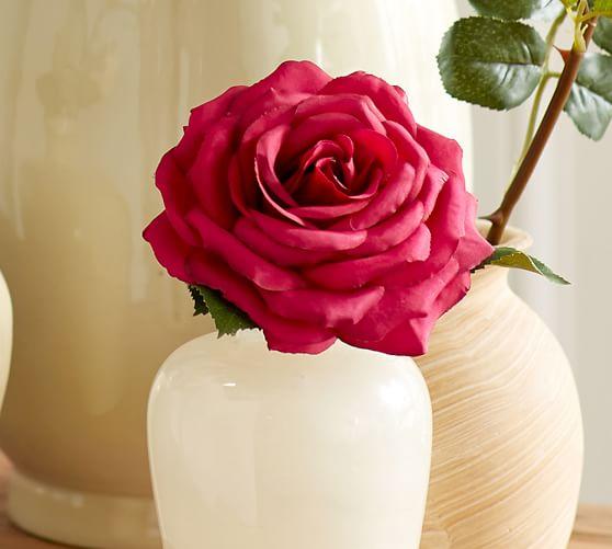 Faux Garden Rose Stem Magenta Pottery Barn