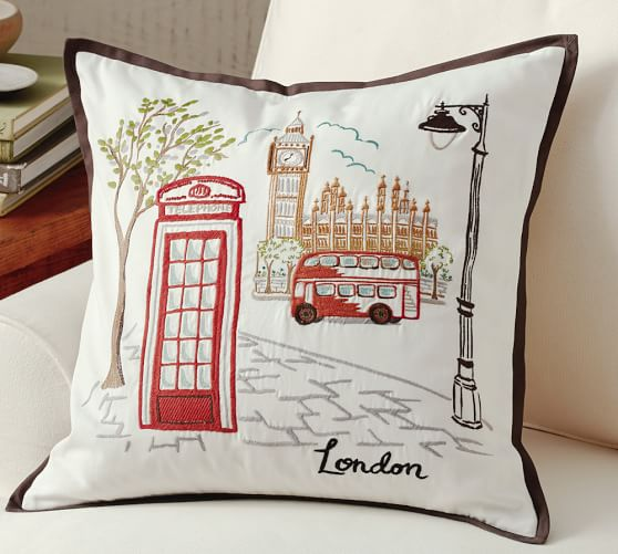 Embroidered Throw Pillows Pottery Barn : London Embroidered Pillow Cover Pottery Barn