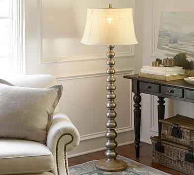 Sherwood stacked floor lamp base pottery barn for Wooden floor lamp pottery barn