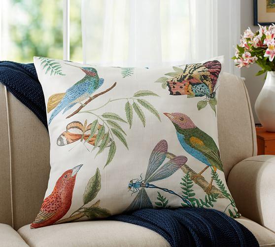 fauna print botanical pillow cover pottery barn. Black Bedroom Furniture Sets. Home Design Ideas