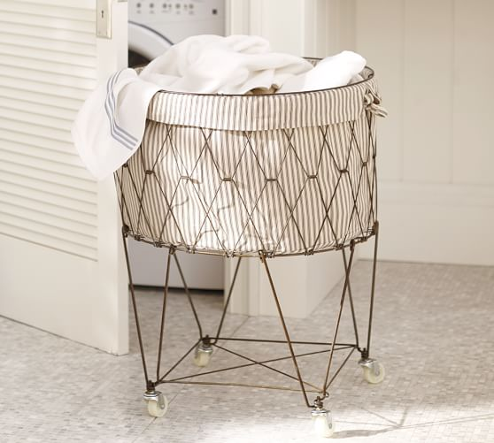 French wire hamper liner pottery barn for Pottery barn laundry room