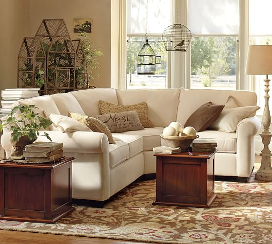 buchanan roll arm upholstered curved 3 piece sectional With buchanan sectional sofa pottery barn