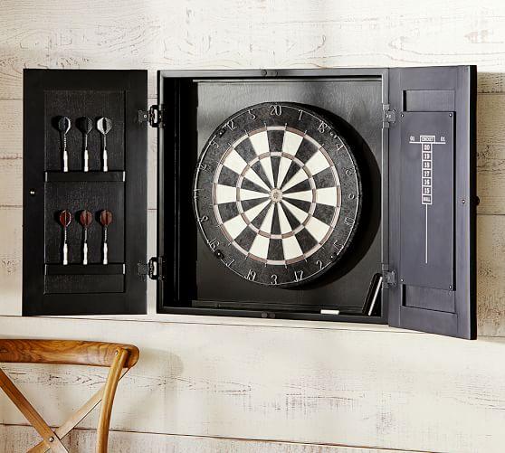 Dartboard Wood Cabinet Game Set Pottery Barn