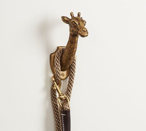 Safari Giraffe Brass Hook