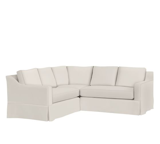 York Slope Arm Slipcovered 3-Piece L-Shaped Sectional With