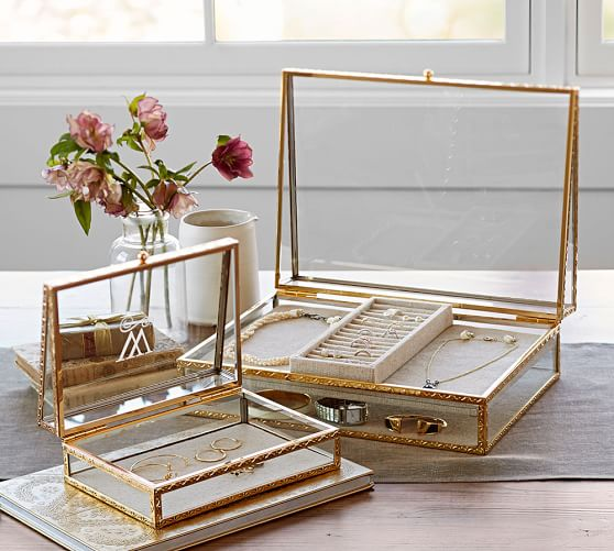 antique gold jewelry boxes pottery barn