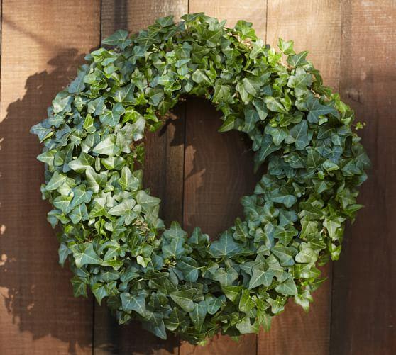 live ivy wreath pottery barn