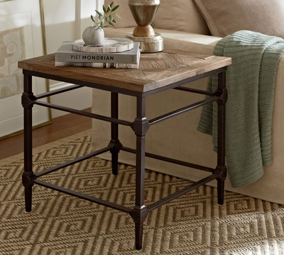 Parquet Steel Coffee Table: Parquet Reclaimed Wood Side Table