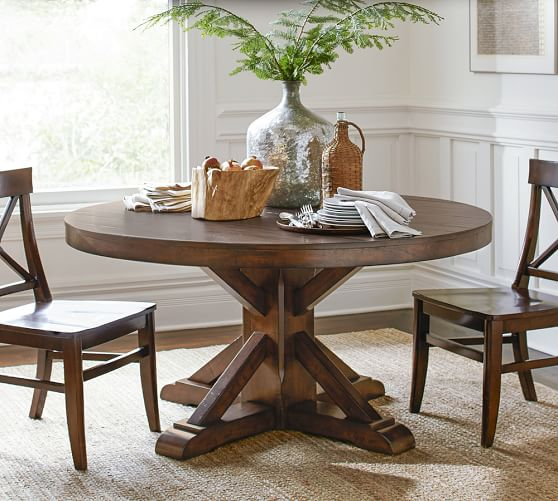 benchwright fixed pedestal dining table pottery barn