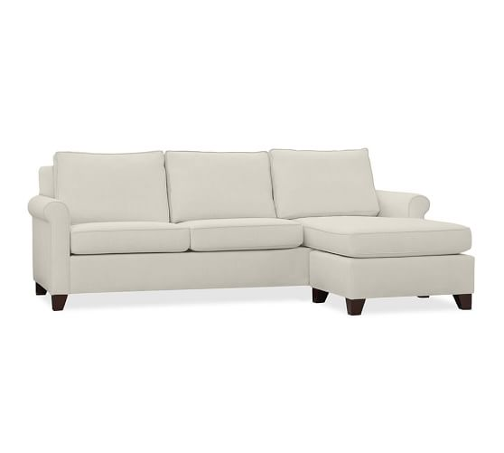 Cameron roll arm upholstered sofa with reversible chaise for Sectional sofa bed pottery barn