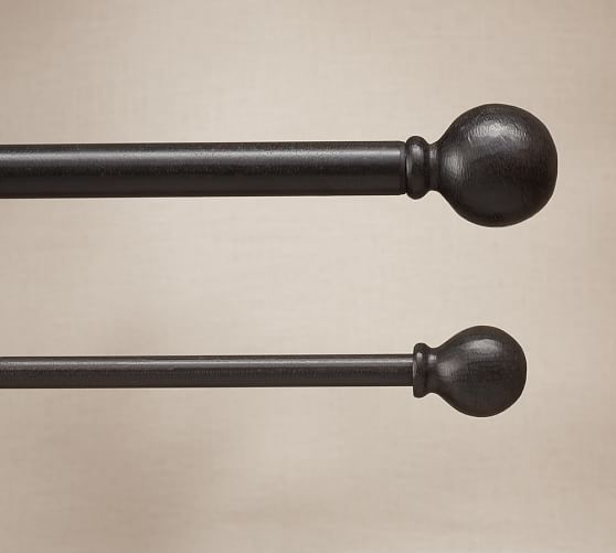 cast iron ball finial drape rod pottery barn. Black Bedroom Furniture Sets. Home Design Ideas