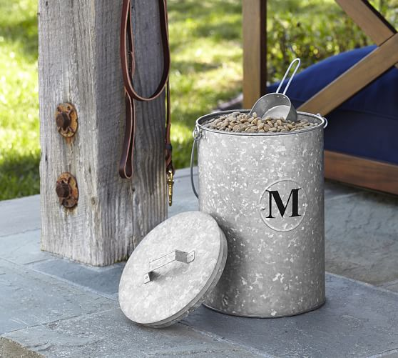 galvanized metal pet food canister pottery barn