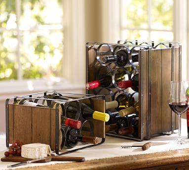 Industry wine bottle rack pottery barn for Pottery barn wine rack wood