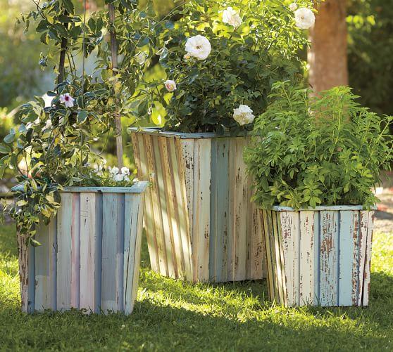 reclaimed wood barrel planters pottery barn