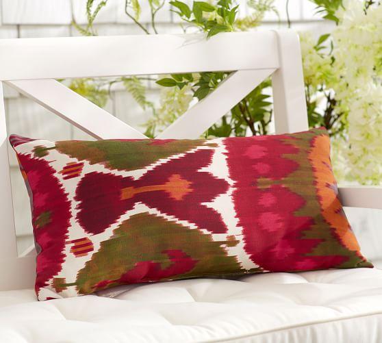 sarene ikat indoor outdoor lumbar pillow pottery barn. Black Bedroom Furniture Sets. Home Design Ideas