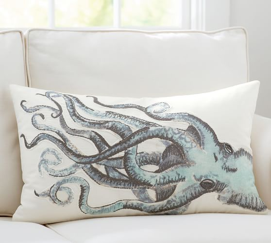 Painted Octopus Embroidered Lumbar Pillow Cover Pottery Barn