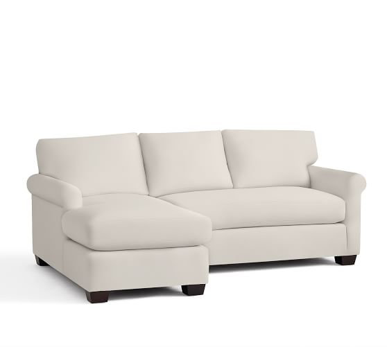 York roll arm upholstered sofa with chaise sectional pottery barn - Sofa york ...