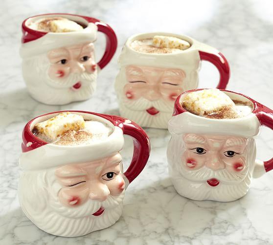Santa Figural Mug Mixed Set Of 4 Benefiting Give A