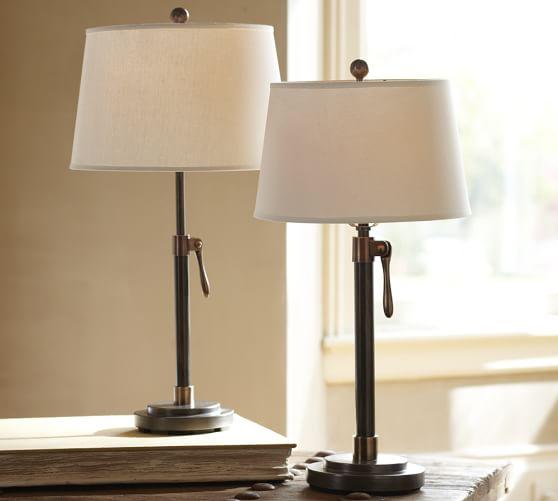 sutter adjustable lever table bedside lamp base pottery barn. Black Bedroom Furniture Sets. Home Design Ideas