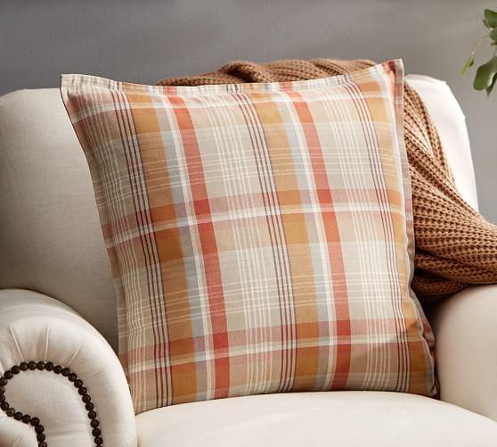 Pumpkin Plaid Pillow Covers Pottery Barn
