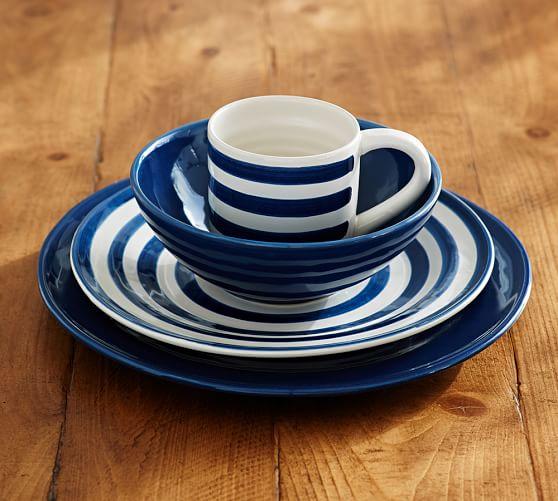 Pottery Barn Blue Kitchen Set: Reese Dinnerware, Indigo Blue, Set Of 4