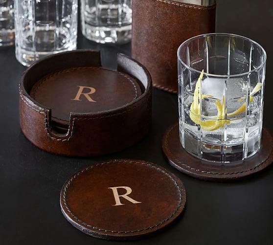 Saddle Leather Drink Coaster Set Of 6 Pottery Barn