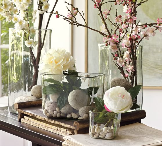 Decorating With Glass Vases Recycled Glass Square Vases Pottery Barn