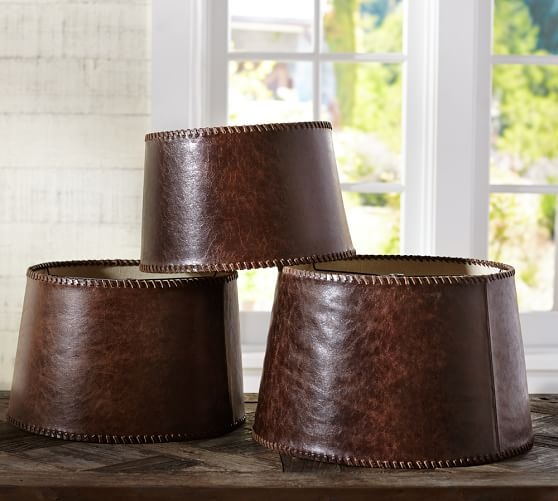 leather tapered drum lamp shade pottery barn. Black Bedroom Furniture Sets. Home Design Ideas